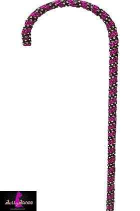 Bastón tipo caramelo turquesa/rosa con piedras plata con negro