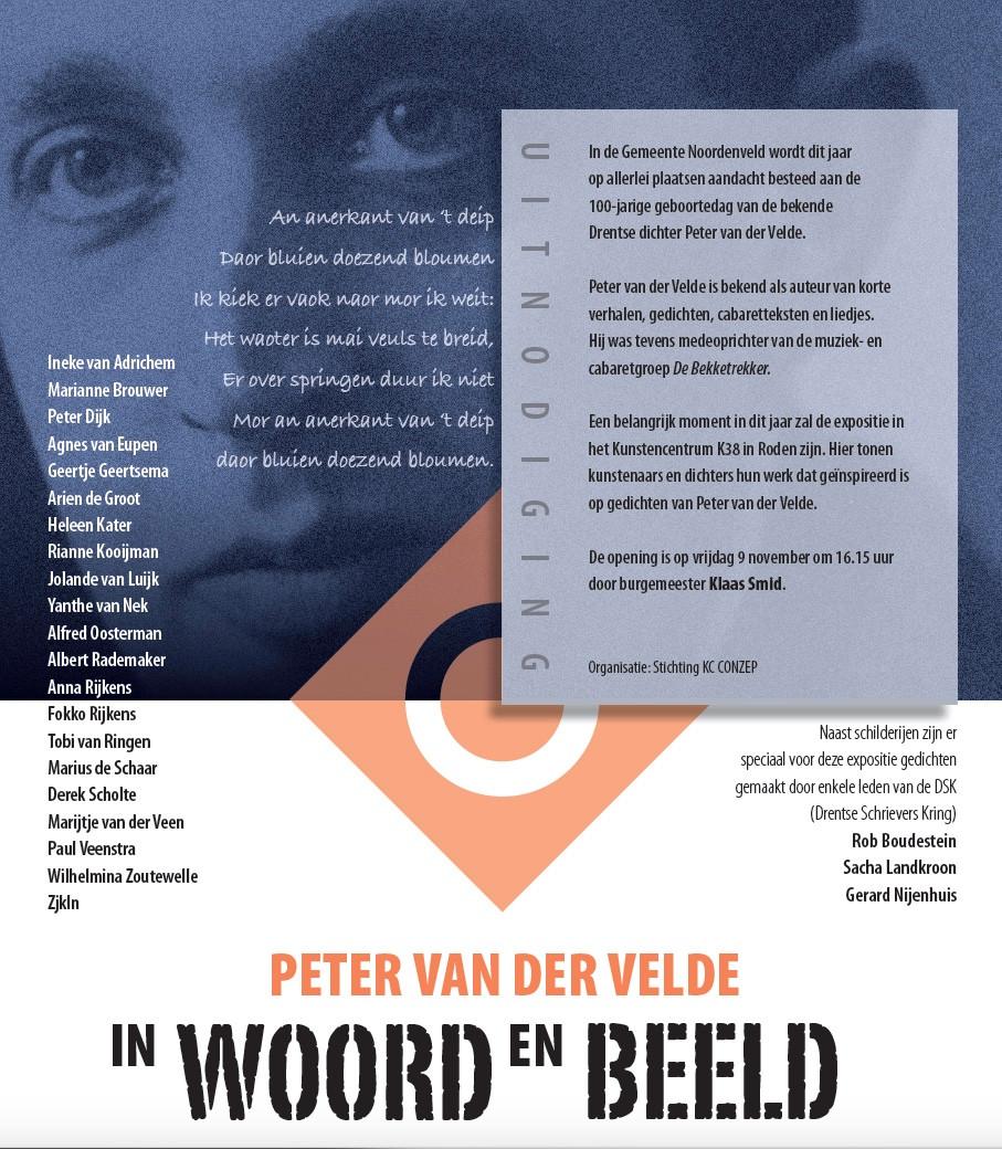 """Aart Kooijman en ik organiseren vanuit de Stichting KC CONZEP de bijzondere Peter van der Velde tentoonstelling """"in Woord en Beeld"""""""