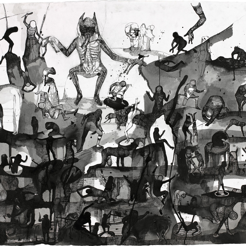 Josef Zlamal - Untitled, 2012, 100x140cm, ink on handmade paper