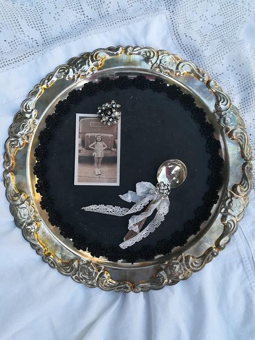 Vintage silver chalkboard - Round - 1