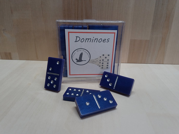 Handmade blue epoxy dominoes