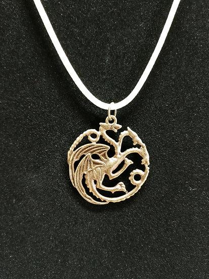 Bronze three headed dragon necklace
