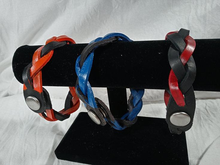 Custom painted leather braided bracelet