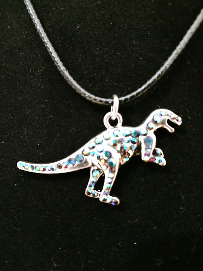 Silver shiny dino necklace