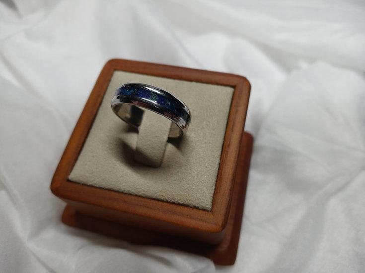 Stainless steel ring w/ dragon scale opals, dinosaur bone, meteorite ect.