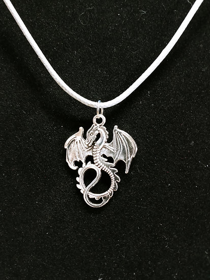 Pewter flying dragon necklace