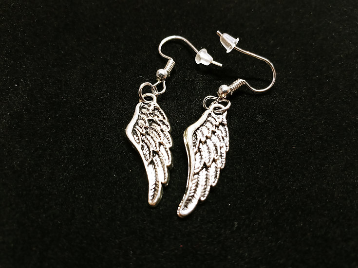Small feathered wing earrings
