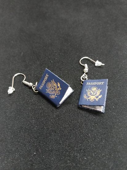 Tiny passport earrings