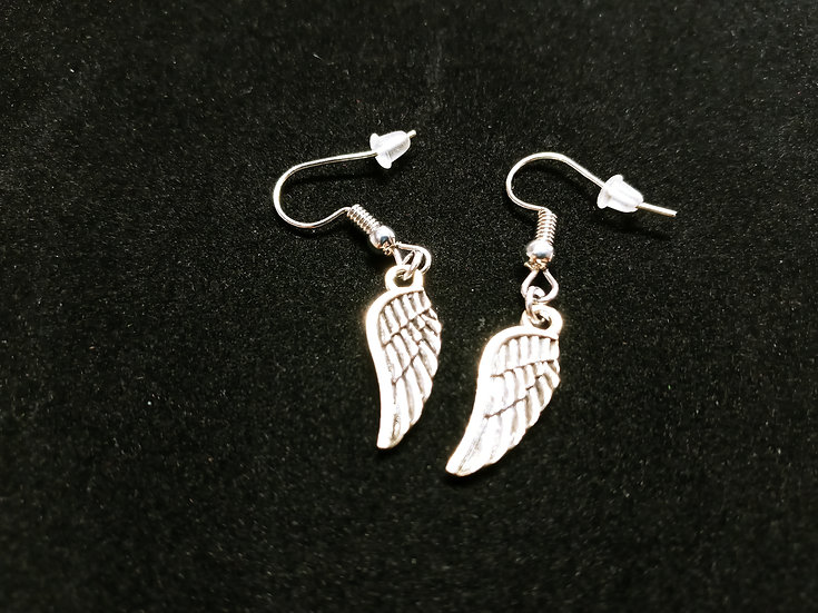 Very small feathered wing earrings
