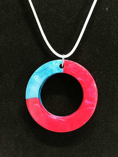 Blue and red epoxy circle necklace
