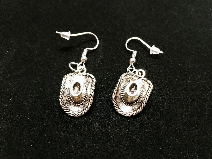Western hat earrings