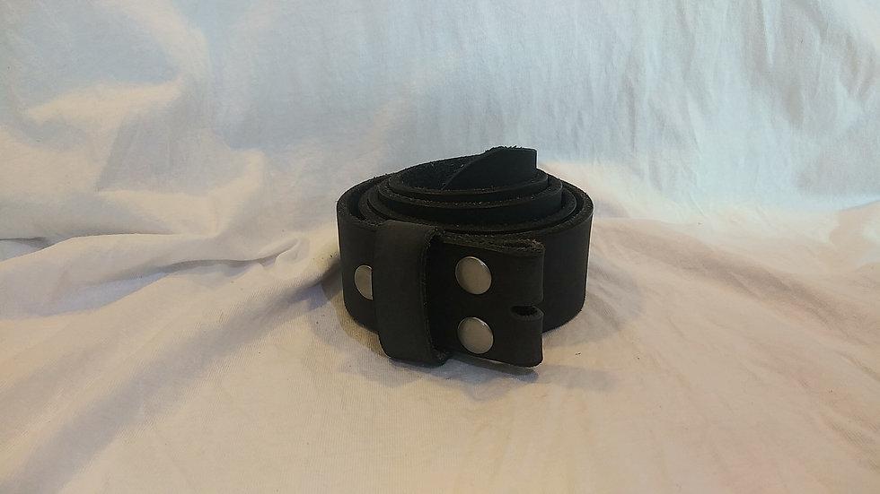"""Handmade Genuine Leather Belt W:1.5""""x L:45""""(Black W/ No Buckle)"""