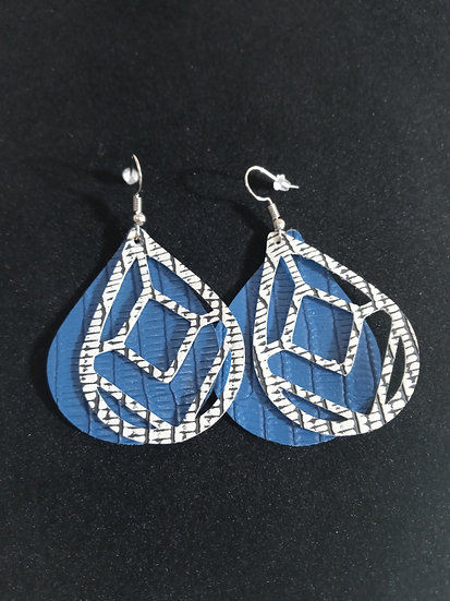 Blue and grey textured leather earrings