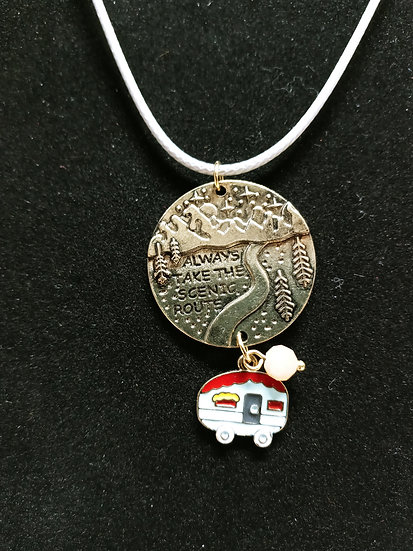 Always take the scenic route necklace