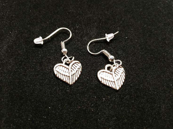Heart wing earrings