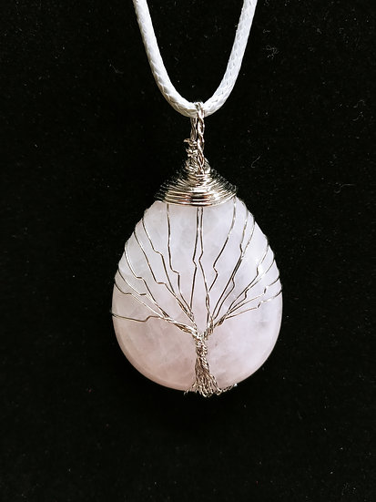 Wire wrapped rose quartz tree necklace