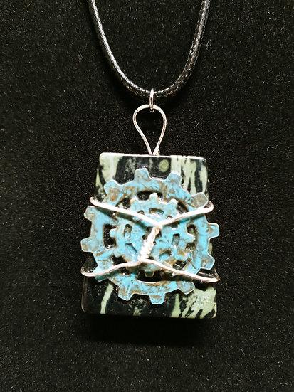 Rhyolite gear necklace