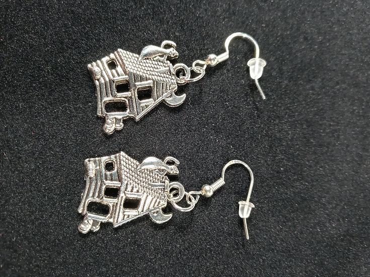 Spooky house earrings