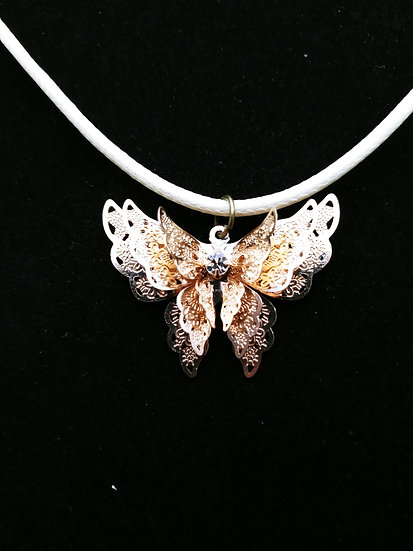 Copper butterfly necklace