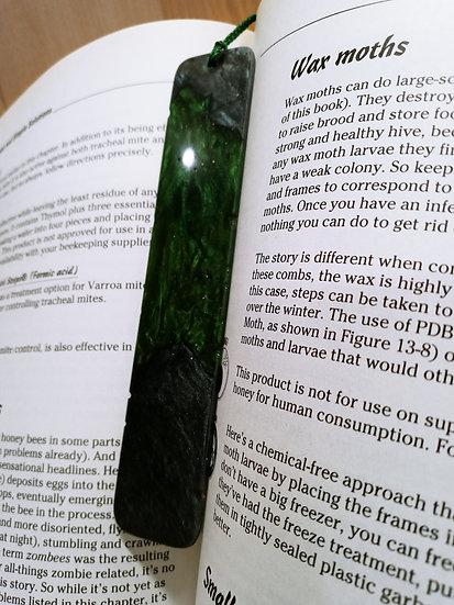 Grey and green epoxy bookmark
