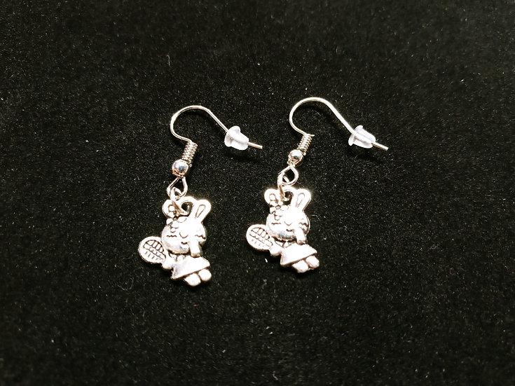 Tennis bunny earrings