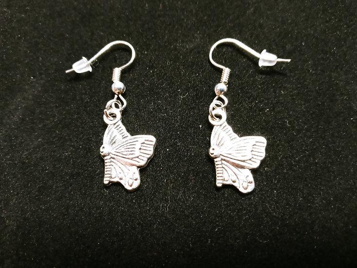 Sideways butterfly earrings