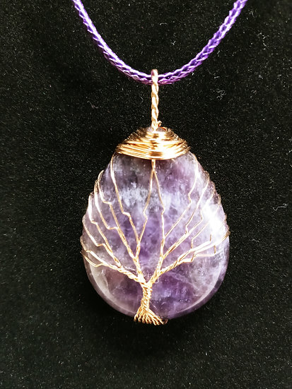 Wire wrapped amethyst tree necklace