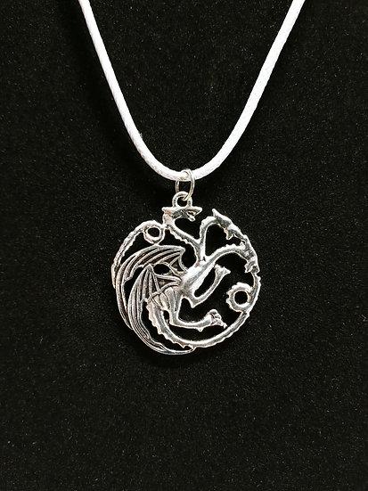 Silver three headed dragon necklace