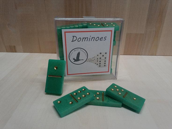 Handmade green epoxy dominoes