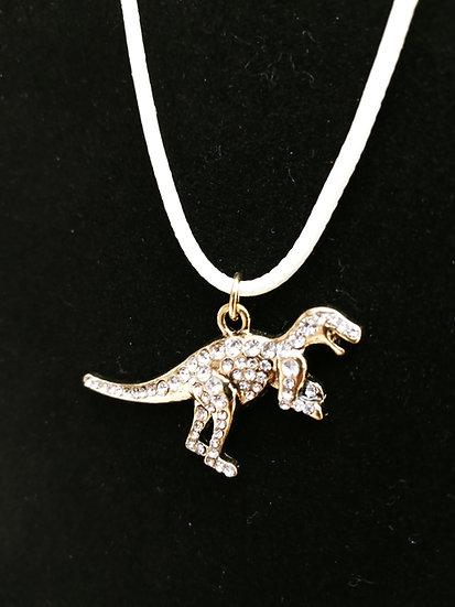 Gold shiny dino necklace