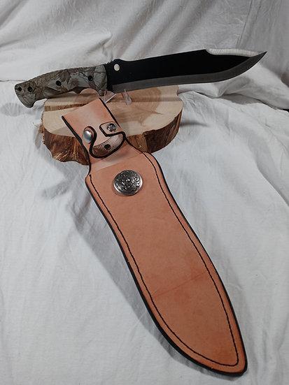Handmade leather sheath with blade
