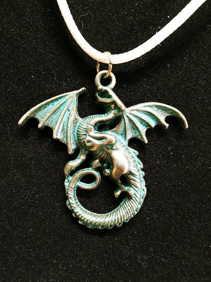 Aged copper dragon necklace