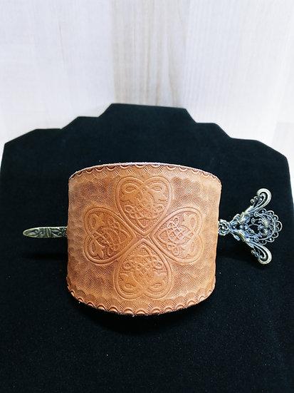 Handmade leather barrette #4