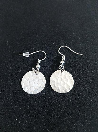 Dented silver earrings