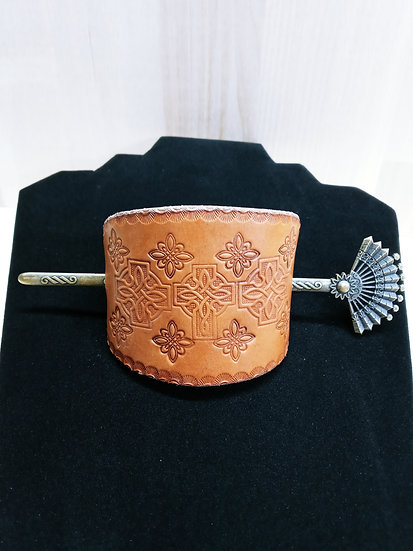 Handmade leather barrette #3