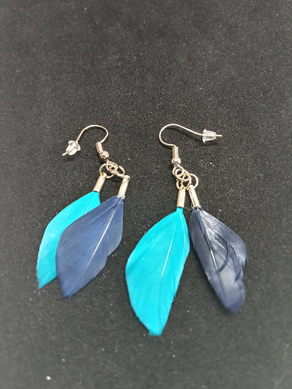 Tiny feather earrings ( navy blue and turquoise )