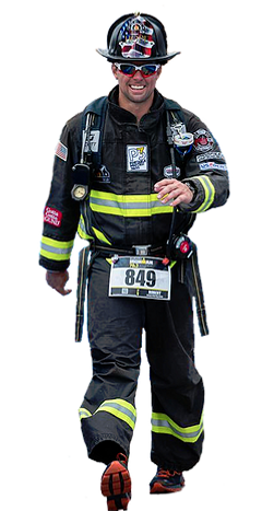 Fireman Rob Racing in Full Firefigher Gear