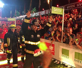 Fireman Rob Finish Challenge Roth Triathlon in Germany Firefighter Gear