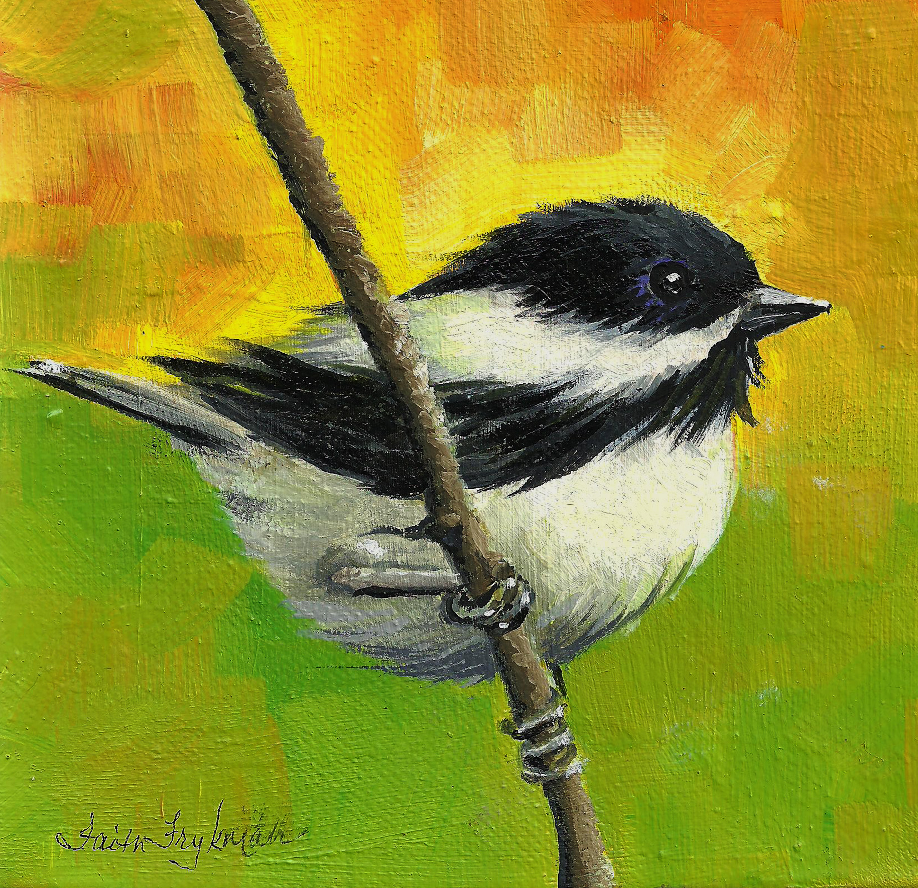black capped chickadee in the wind 6x6 o