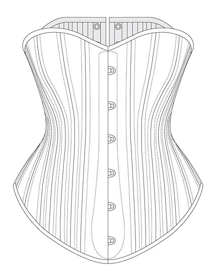 1890s Victorian Mid-Bust Corset - PDF pattern