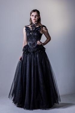 'Raven' black feather corset