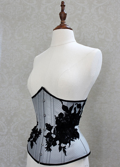 Grey underbust with black lace