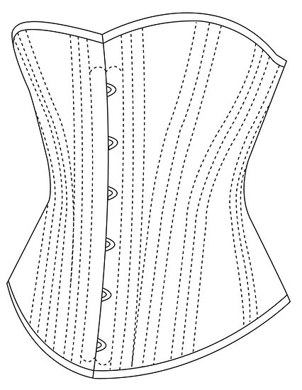 Late Victorian Mid-Bust Corset - PDF pattern