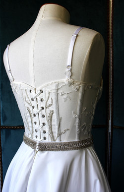 Bobbinet, coutil and lace corset