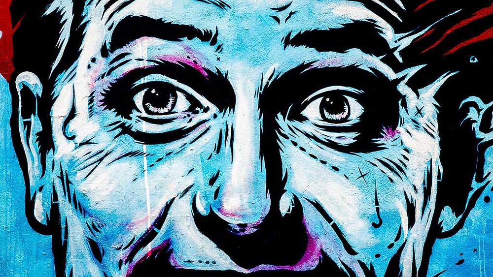 Street Art, Blue, Eyes, Urbans, Urban culture, street art, London, England, Brick Lane, Aldgate East, Urban Colours