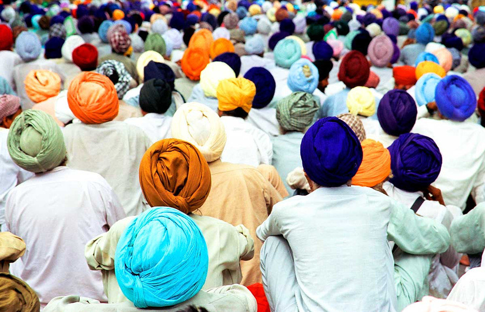 A group of Sikh farmers protest in New Delhi