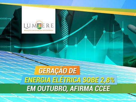 Geração de energia elétrica sobe 2,8% em outubro, afirma CCEE