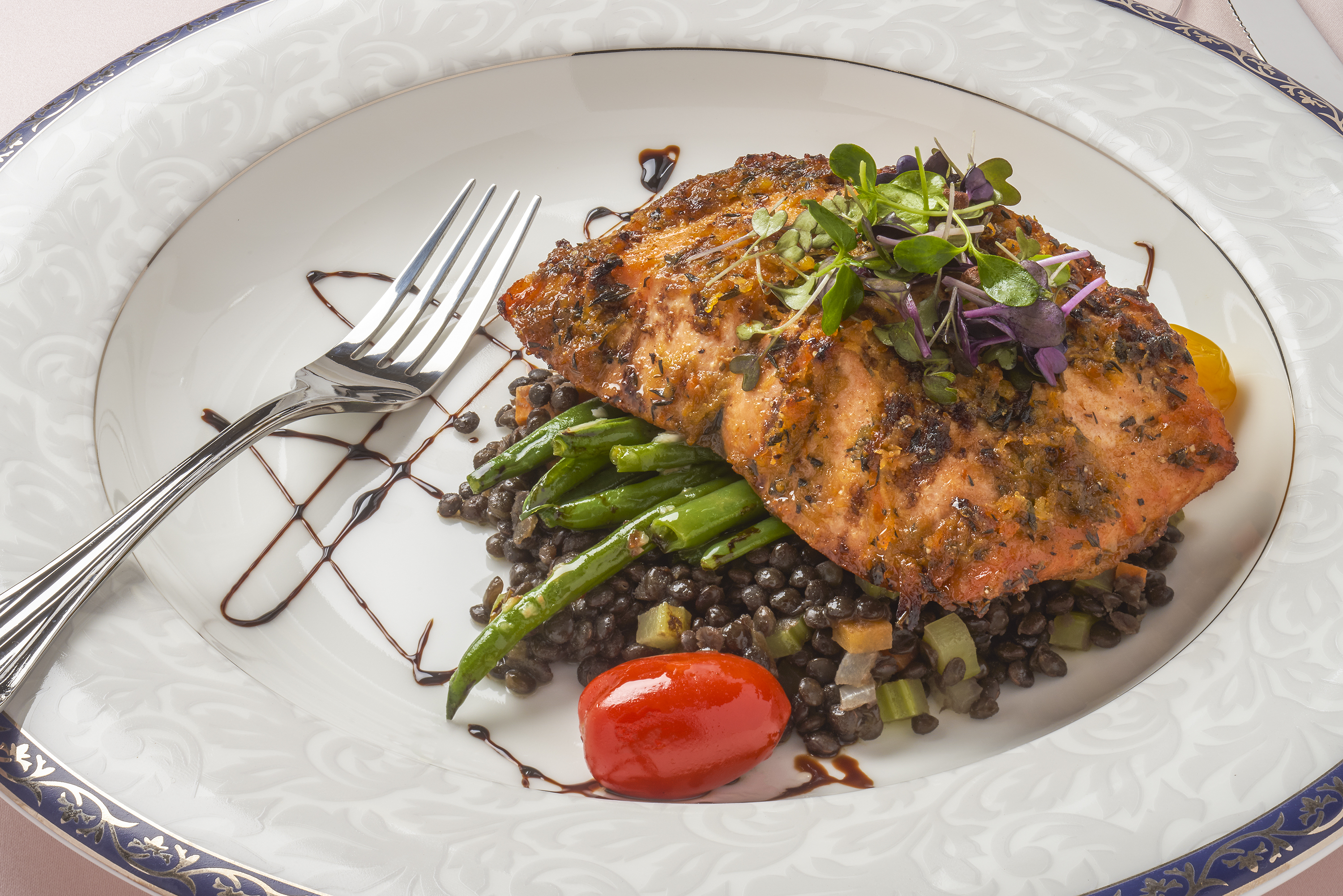 Citrus Salmon over Lentils