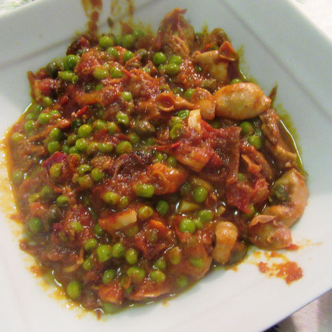 Cuttlefish and peas soup