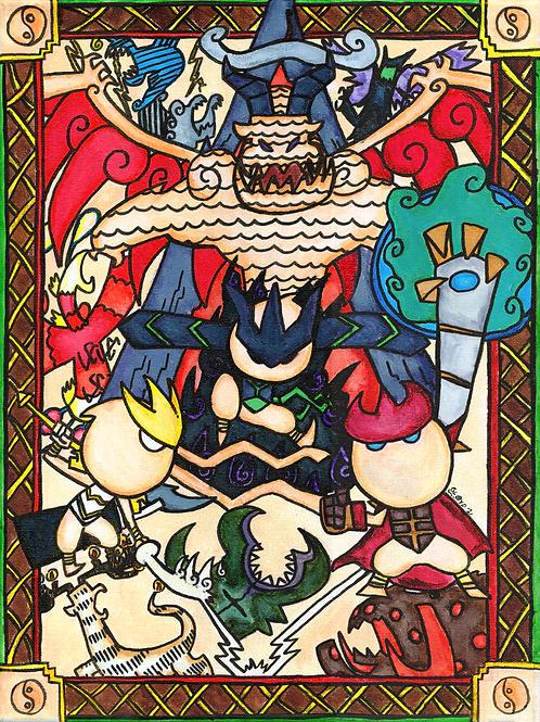 "Dragon Lords - Original 12"" x 16"""